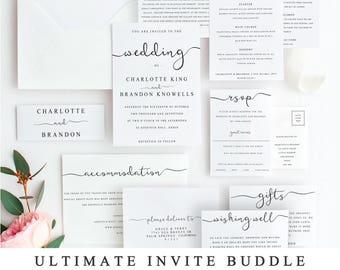 Wedding invitation template etsy ultimate diy wedding invite template bundle of 10 different designs home print wedding invitation template wedding suite instant download stopboris Image collections