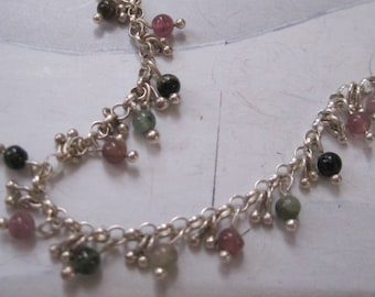 Multicolor Tourmaline and Sterling Silver Necklace