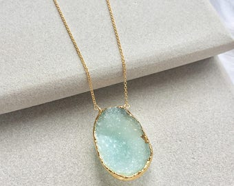 Aqua Druzy Necklace - Druzy Necklace - Druzy Jewelry