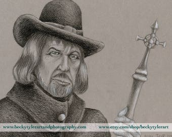 Vincent Price in Witchfinder General, Drawing