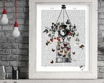 Poster hanger - Strawberry Chandelier - Best friend gift Paper anniversary Bird cage Family room wall Cafe art print Country home decor