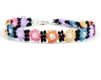 Girls Anklet - Daisy Chain Anklet - Kids Anklet - Bead Ankle Bracelet - Beaded Anklet - Children's Jewelry - Handmade Jewelry
