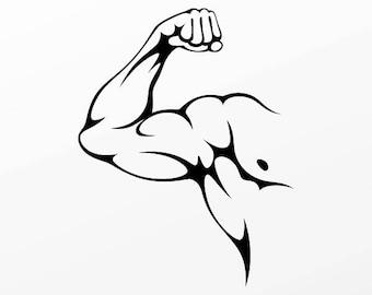 Decals sticker Bodybuilder Muscle design fitness Weatherproof 04460