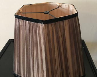 Vintage Brown Hexagon Shape Organza Lampshade  Hollywood Regency Shabby Chic Shade Boudoir