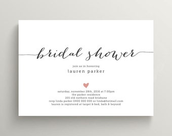 Printable Bridal Shower Invitation in Charcoal and Pink  (BR109)
