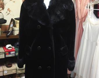 Jet Black Car Coat Faux Fur Vintage
