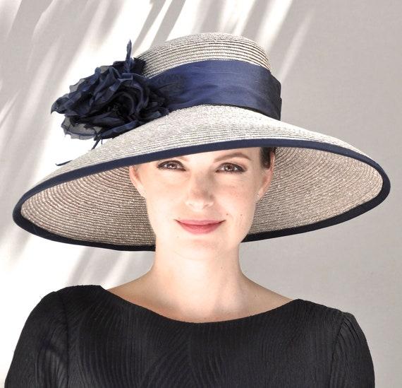 Derby Hat, Wedding Hat, Formal hat, Ascot Hat, Occasion Hat, Church Hat, Taupe Hat, wide brim hat, big hat