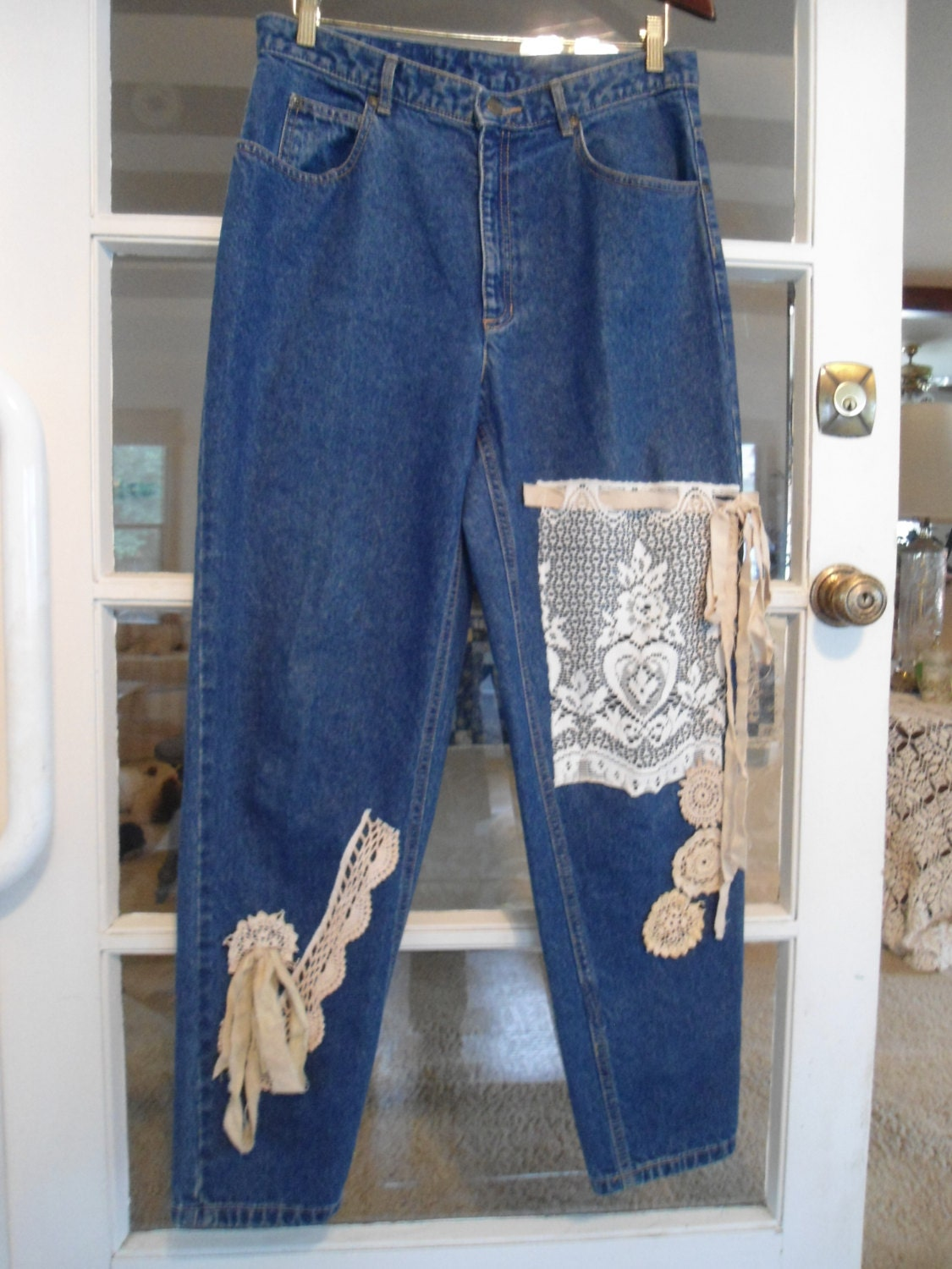 Mens Patchwork Jeans Retro Industrial Upcycled Hippie Grunge Bohemian Pants 32 x 35 Patched Denim Dark Blue Straight Leg Button Cuff Boho pHD3qE7