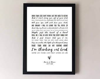 Thinking out loud, song lyrics print, wedding song,  first dance, anniversary gifts, wedding gift gift for husband gift for wife