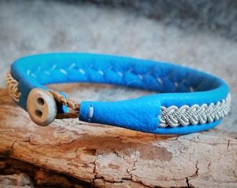 Tenntrådsarmband, Bright blue leather bracelet, Swedish craft, Sami, Lapland