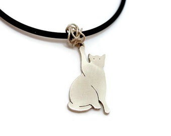 Playful Kitten Sterling Silver Pendant