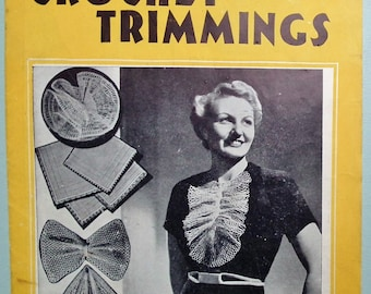 Vintage 30s Crochet Trimmings Patterns Book Women's Lacy Collars Accessories 1930s original patterns Weldon's Practical Needlework 131 UK