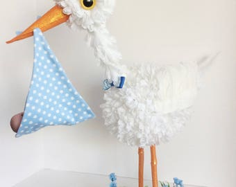 Stork Centerpiece, Baby boy stork centerpiece, unique baby shower centerpiece,  welcome baby home decoration, baby shower decoration