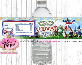 10 Gnomes Movie Party Custom Gnomeo and Juliet Water Bottle Labels Gnomes Party Favors