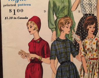SALE Vogue Young Fashionables Box Pleated or Slim Shirtdress Pattern 5380---Size 12  Bust 32  UNCUT