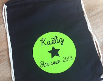 Backpack with name black cotton cord
