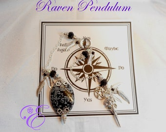Raven Pendulum - Snowflake Obsidian, with Board and Instructions - Pendulum Divination