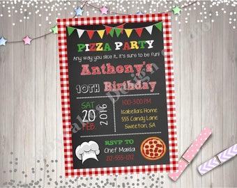 Pizza Party Birthday Invitation Invite Pizza Birthday Party Pizza Making Party Printable Invitation