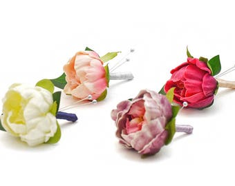 Peony Boutonnieres - Pick your favorite colors & ribbon...add a bit of accent with Lambs Ear or Eucalyptus...all at a great price!