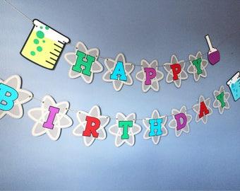 Mad Scientist Birthday Party Banner - Science, First Birthday, Baby Shower, Lab