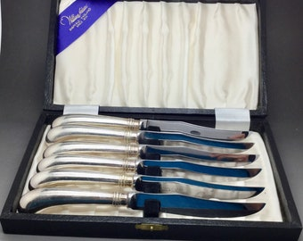 William Adams Stainless Steel Steak Knives Set of Six in Original Box
