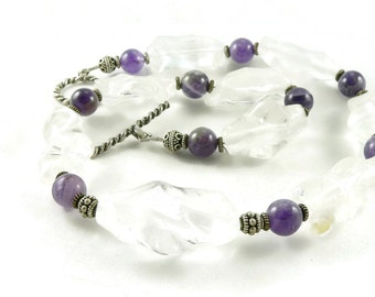 Crown Chakra Crystals - Amethyst Gemstone - Quartz Crystal - Chunky Statement Necklace - Artisan Jewelry