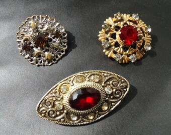 Set vintage brooches Vintage brooch 50-s Brooch USSR Vintage broochs Vintage Brooch Lot (3) Vintage Costume Jewelry Lot