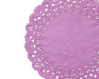"""PLUM BLOSSOM Paper Lace Doilies   4"""" 5"""" 6"""" 8"""" 10"""" 12"""" 14"""" 16"""" Size Round Doily   Light Purple Doily, Plum Doily, Mauve Doily"""