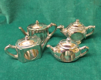 Godinger Silver Teapot Napkin Rings four 4 silver plated heavy weight & adorable! museum replicas perfect for bridal shower party wedding