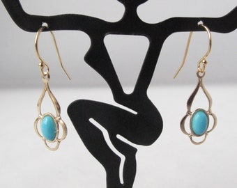Sleeping Beauty Turquoise Earrings on Gold-Filled Ear Wires