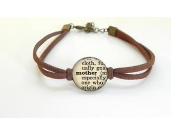 Mother dictionary word bracelet - leather bracelet - Mother's Day Gift - New Mom Gift
