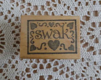 S.W.A.K. Sealed with a Kiss Rubber Stamp by Raindrops on Roses, Vintage 1991 Craft Supply