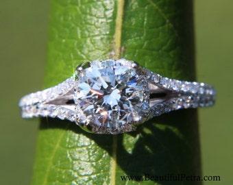 CUSTOM Made - Diamond Engagement Ring Semi Mount Setting - .50 carat  Round - Split Shank-  Halo - Pave - Antique Style - 14K - Item# Bp001