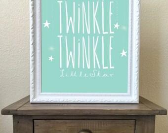 Twinkle Twinkle Little Star, Nursery Wall Art, DIGITAL DOWNLOAD, 16x20 PRINT, Nursery Decor, mint nursery