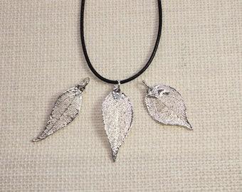 SALE Leaf Necklace, Real Evergreen Leaf, Silver Evergreen Leaf, Silver, Real Leaf Necklace, Silver Evergreen Leaf Pendant, SALE215