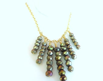 Pyrite gold fringe necklace, African style fringe pyrite gold filled necklace, Hollywood regency fringe boho chic gypsy black gold necklace