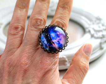 Galaxy ring  feminine black purple star night planet astronomy science large B