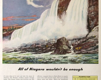1957 Fairbanks Morse Water Pumps Ad - 1950s Niagara Falls Illustration - Waterfall Hydro Electric Power Ad