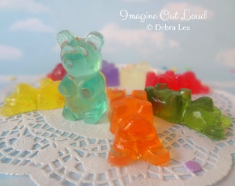 Set of SIX Fake Candy LARGE Candy Bears