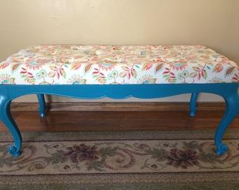 Long upholstered bench