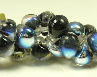 10mm Unicorne Tear Drop Lampwork Beads - Black Pearl Metallic - 4 Pieces - 22011