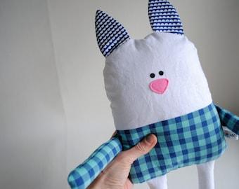 Bunny Stuffed Animal-Bunny Plush-Bunny Softie-Bunny Lovey-Easter Bunny-UpCycled-Repurposed-Hand Sewn Toy-Unique Bunny-Unique Stuffed Animal