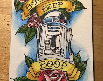 R2D2 Star Wars Vintage Tattoo Art ORIGINAL