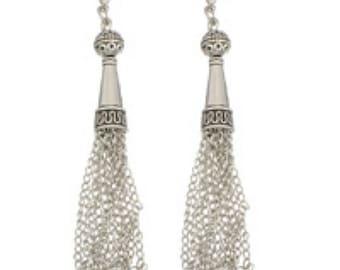 2pc antique silver finish Chain Tassel-7226y