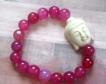 Large Beige Buddha Beaded Stretch Bracelet with Magenta/Pink Glass Beads