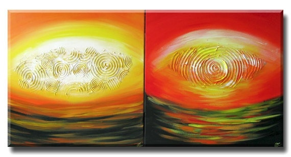 CASTLES sunset sunrise landscape contemporary original pop art painting