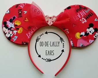 Sample Sale! Valentine Mickey and Minnie Ears, Valentine Mickey Ears, Valentine Minnie Ears, Mice in Love, Mickey loves Minnie
