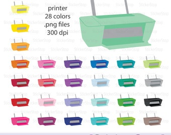 Printer Icon Digital Clipart in Rainbow Colors - Instant download PNG files