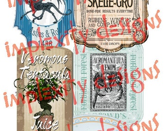 Magical Apothecary Potion Bottle Labels (Set #3) PNG Downloads