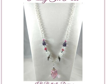 Beaded Purple with  Pink Crystal Pendant Necklace